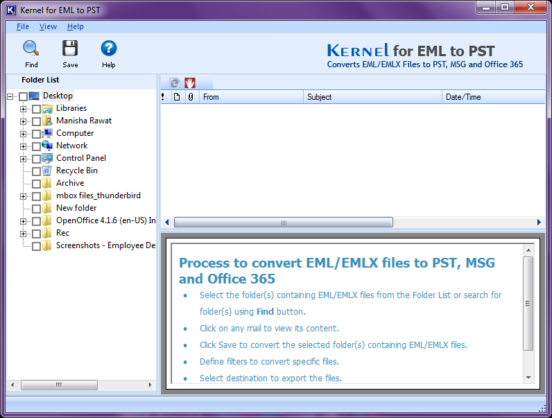 Run EML to PST converter software