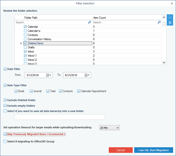 save the migration report in a CSV format