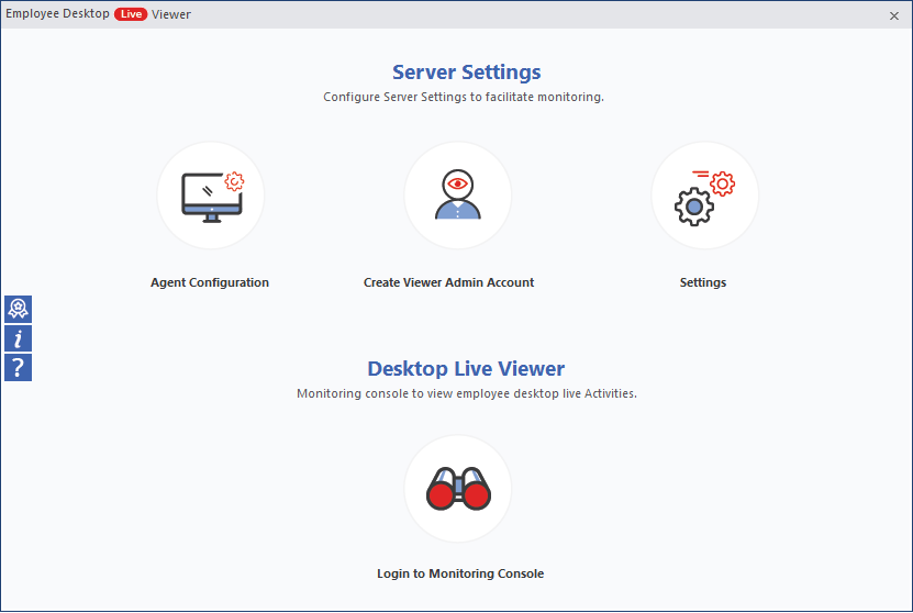 welcome screen of the Employee Desktop Live Viewer tool