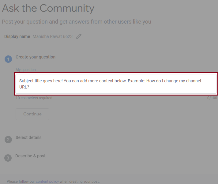 write your query in Community section