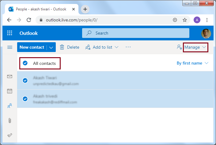 Select the required contacts you want to export
