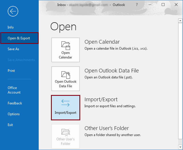 Launch MS Outlook and click Import/Export