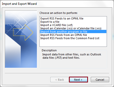 Select the Import from another program or file option
