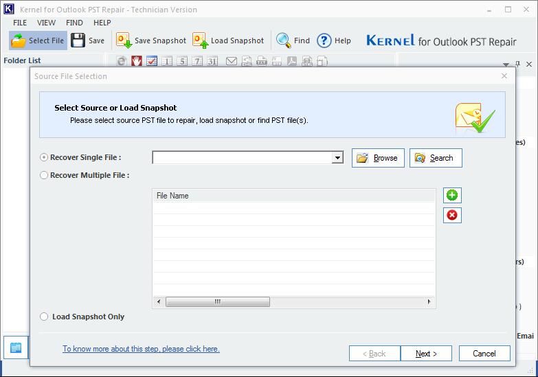 Outlook PST Repair tool home screen