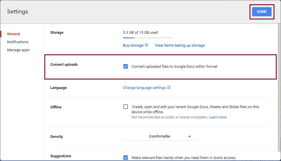 uploaded files to Google Docs editor format