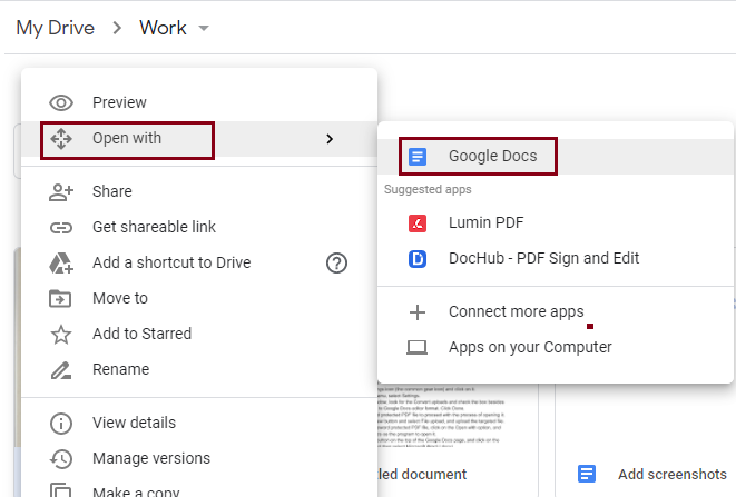 select Google Docs as the program to open it