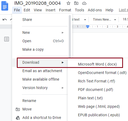 click on the Download as option and then select Microsoft Word