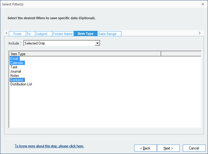 Apply filter option