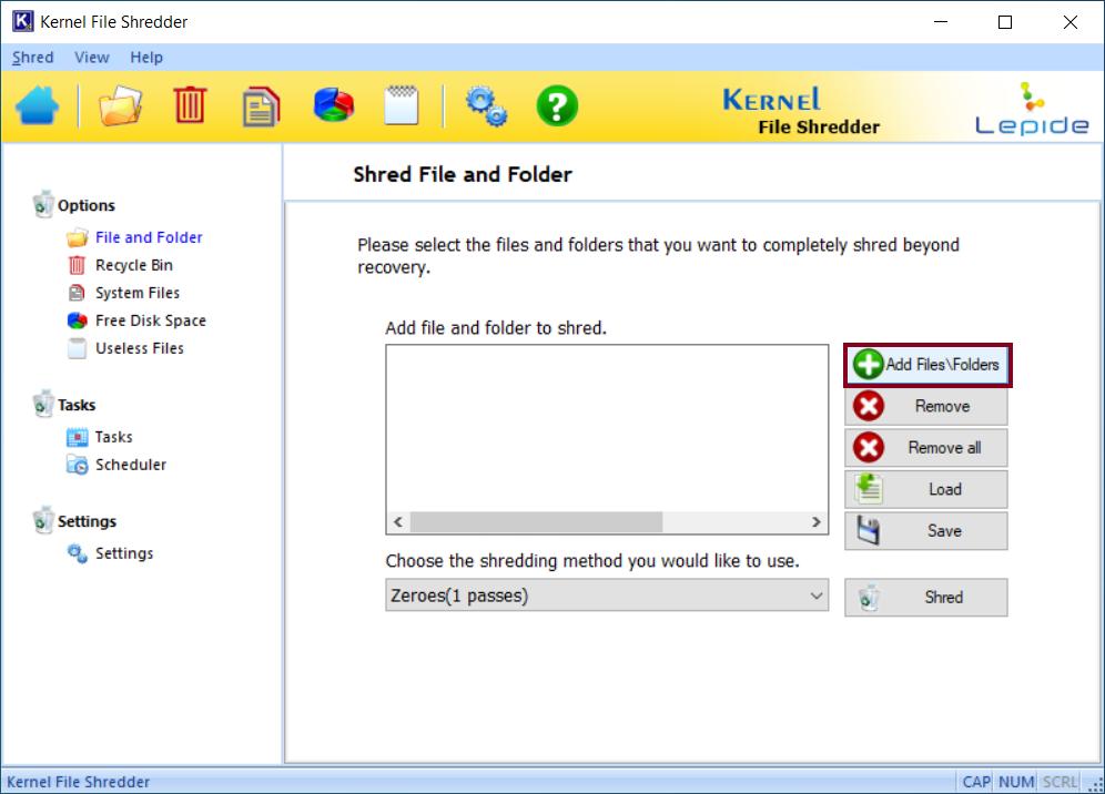 Select Add Files\Folders option