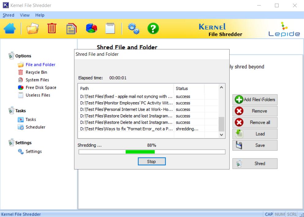 File Shredding process start