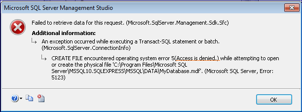 SQL Server Error 5123