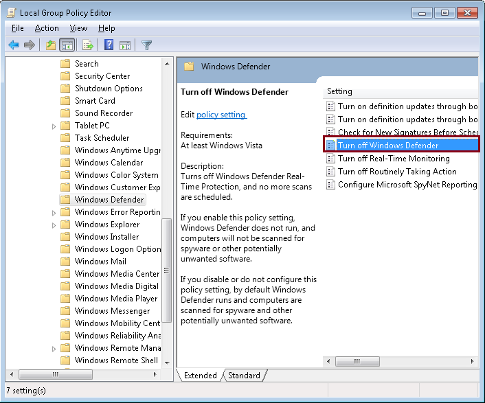 Turn off Windows Defender Antivirus