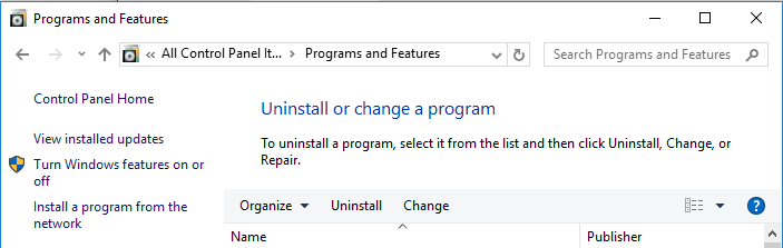 Uninstall or change a program