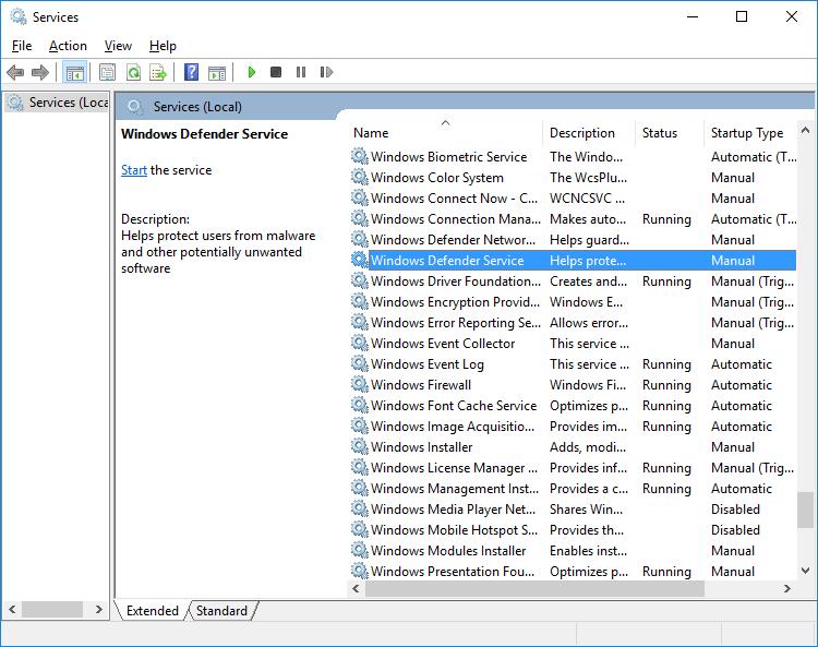 Windows Defender Service