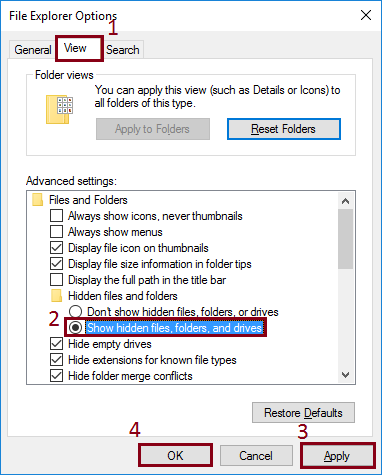 try to locate Show hidden files, and folders option