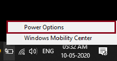 Select Power option