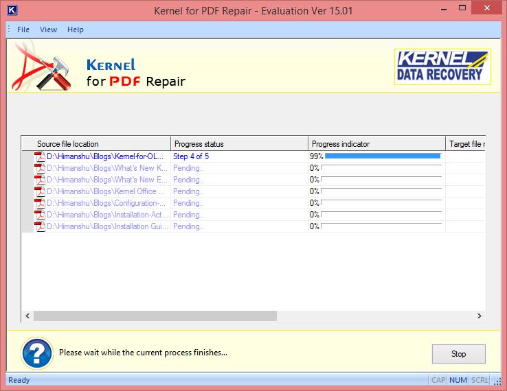 start repairing the PDF files