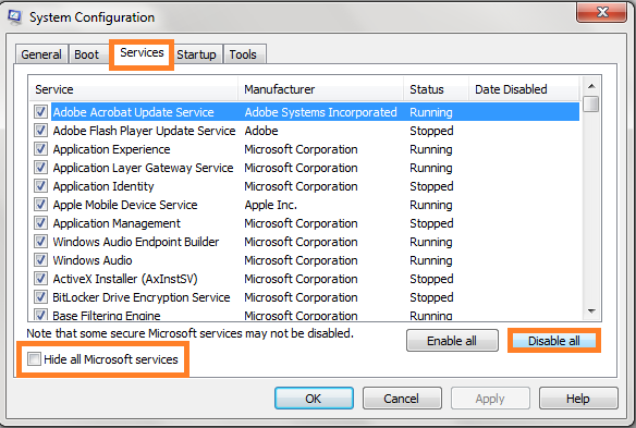 Disable all Microsoft Services