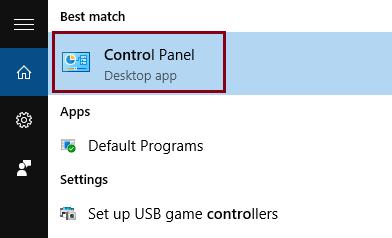 Go to Control Panel