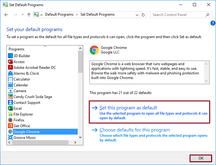 Set this program as default