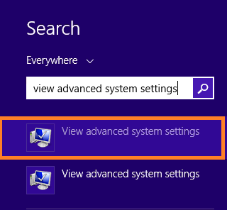 search View advanced system settings
