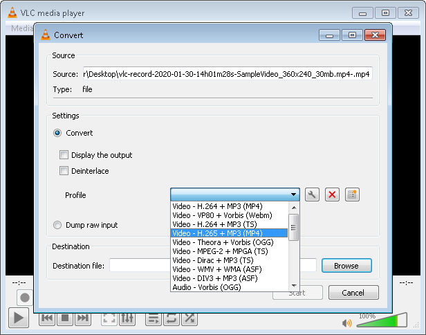 select Video – H.265 + MP3 (MP4)