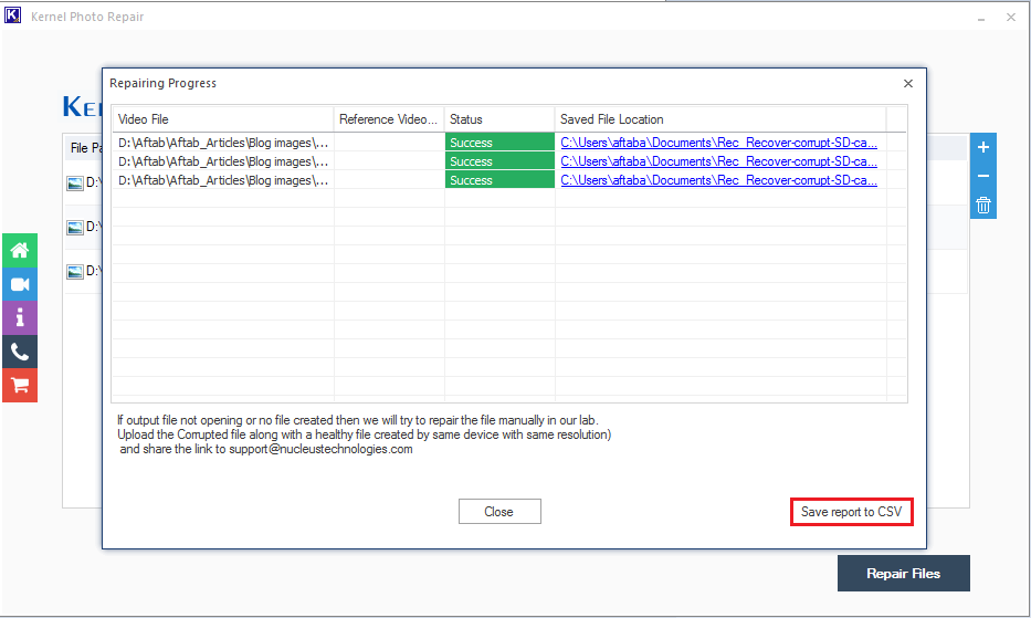 Save report to CSV