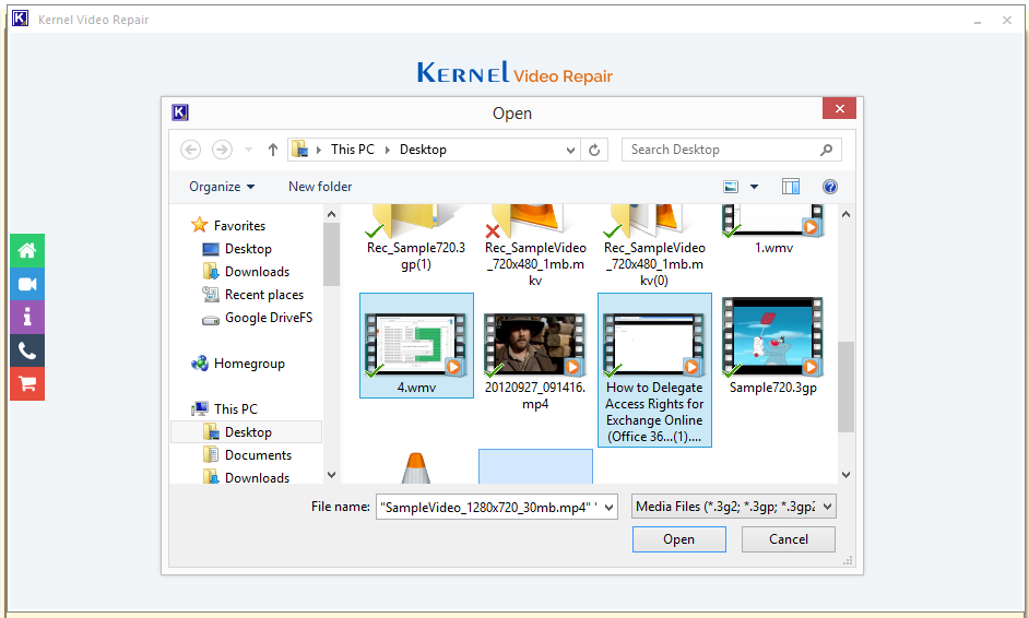Open Kernel Video Repair tool and select file