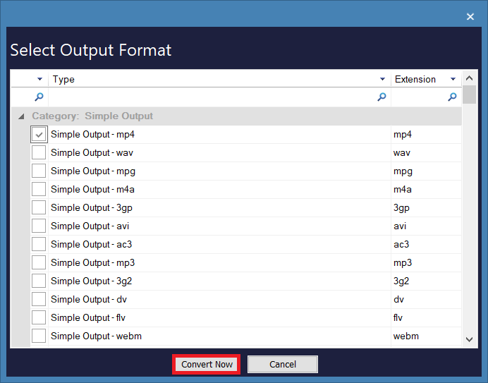 select the format to convert