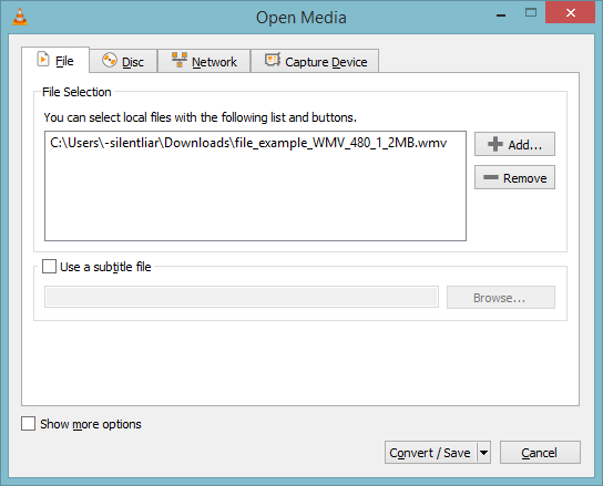 upload the WMV file to convert