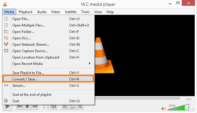 Start the VLC and select convert