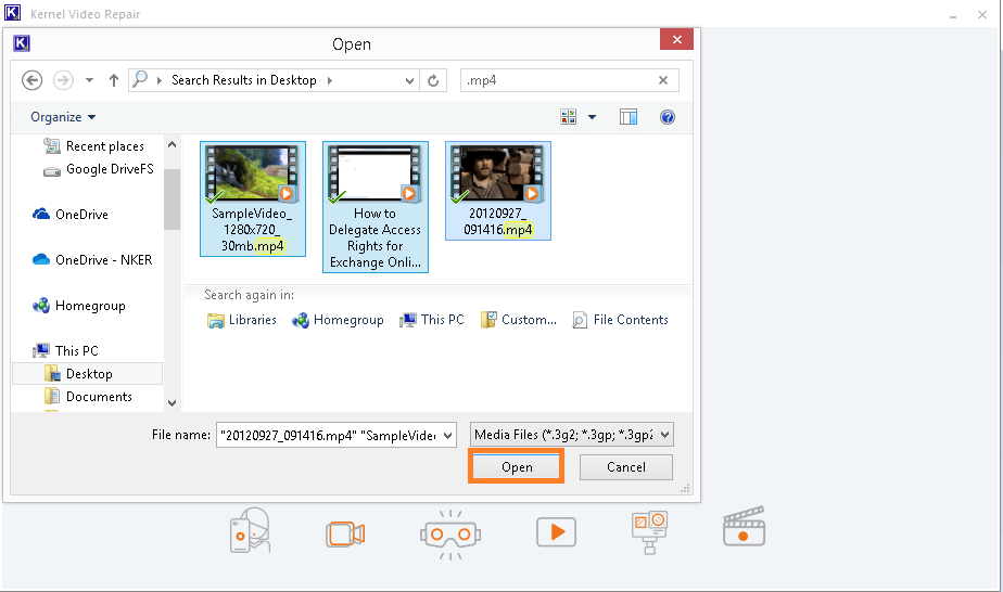 Browse video files from the system drive