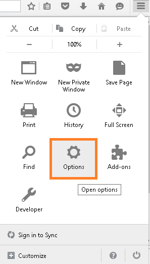 Open Firefox and select Options