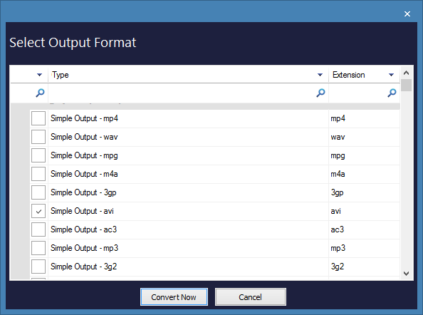 select the specific output format