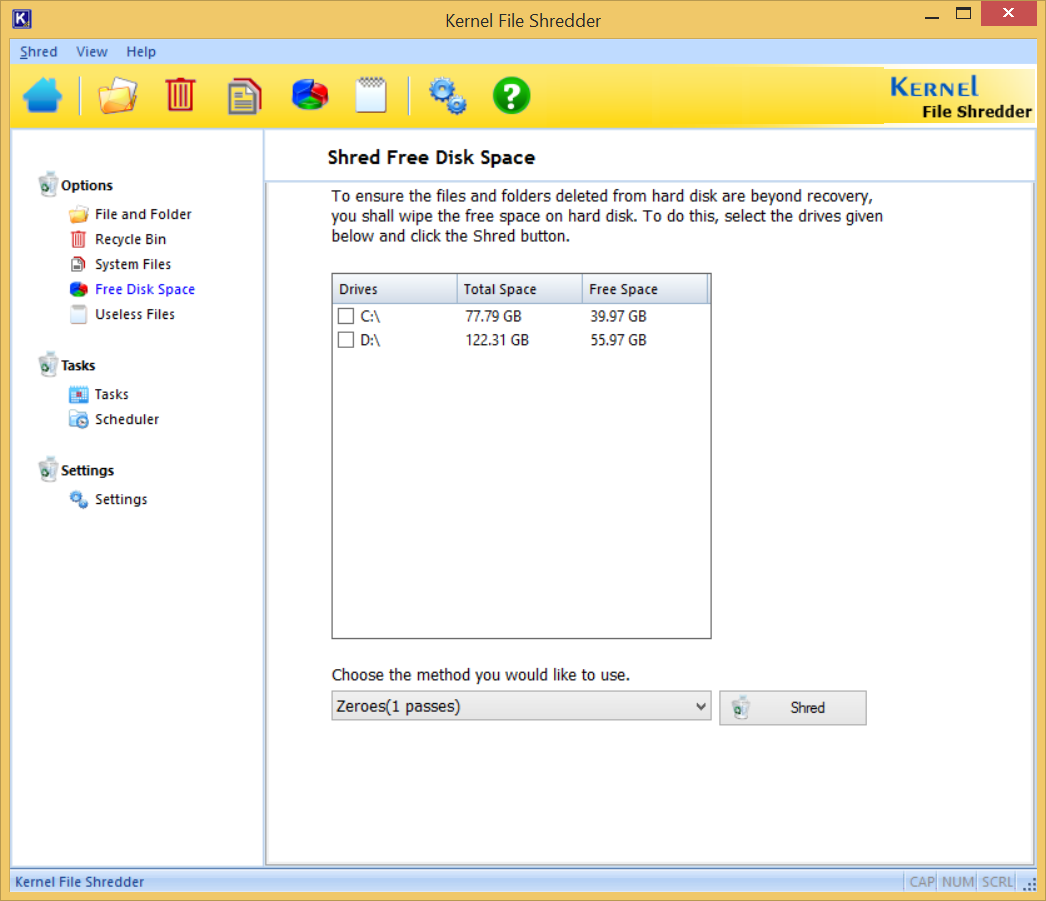 Shred Free Disk Space