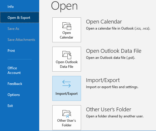 select the Open & Export option