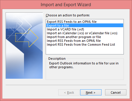 Select Export to a file