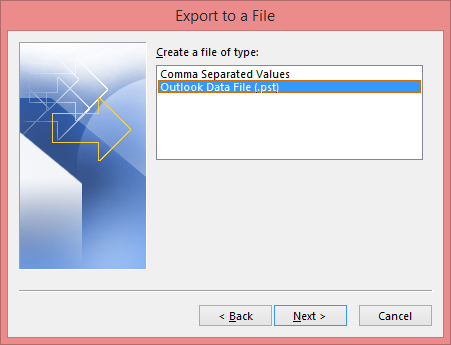 Choose the Outlook data file
