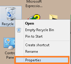 Go to the Properties of Recycle Bin