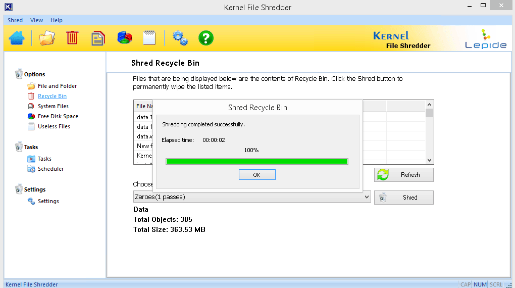 Files would get shredded from the Recycle Bin