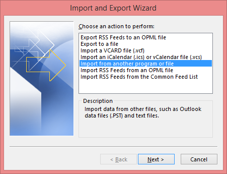 click Import/Export and select Import from another program or file