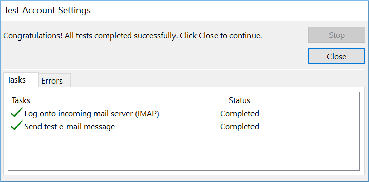 Click Close after Outlook
