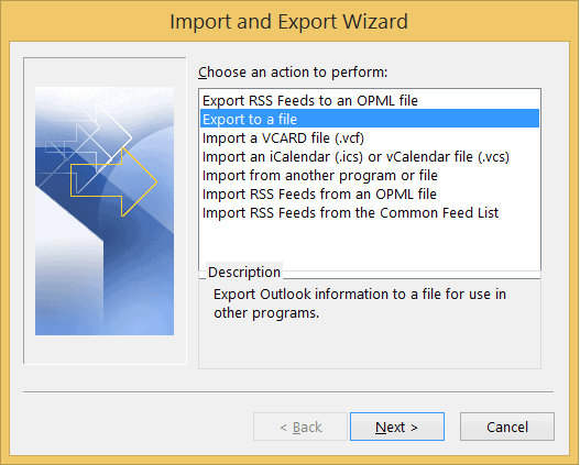 Click Export to a file