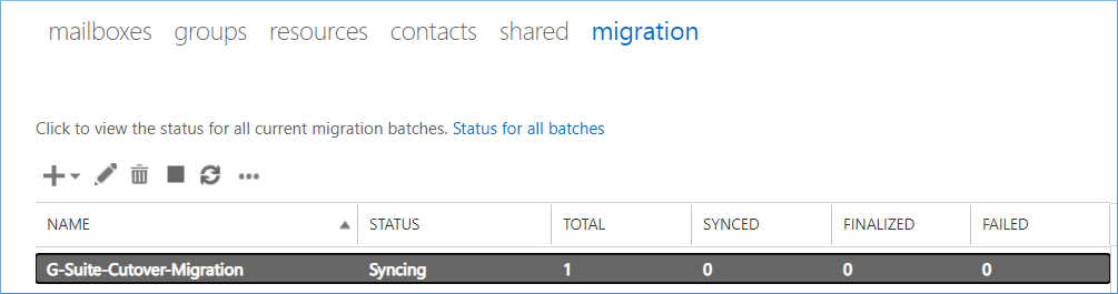 New migration batch started