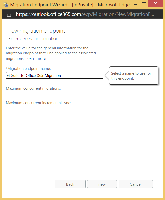 Entter the new namme of migration endpoint