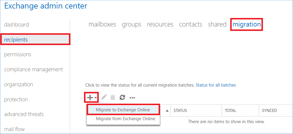 Select migrate to Exchange Online