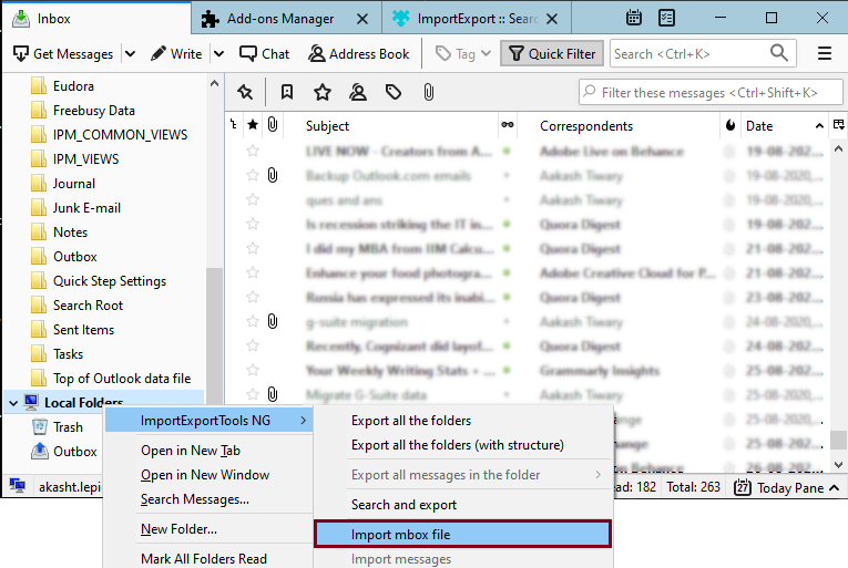 select ImportExportTools NG and Import mbox file