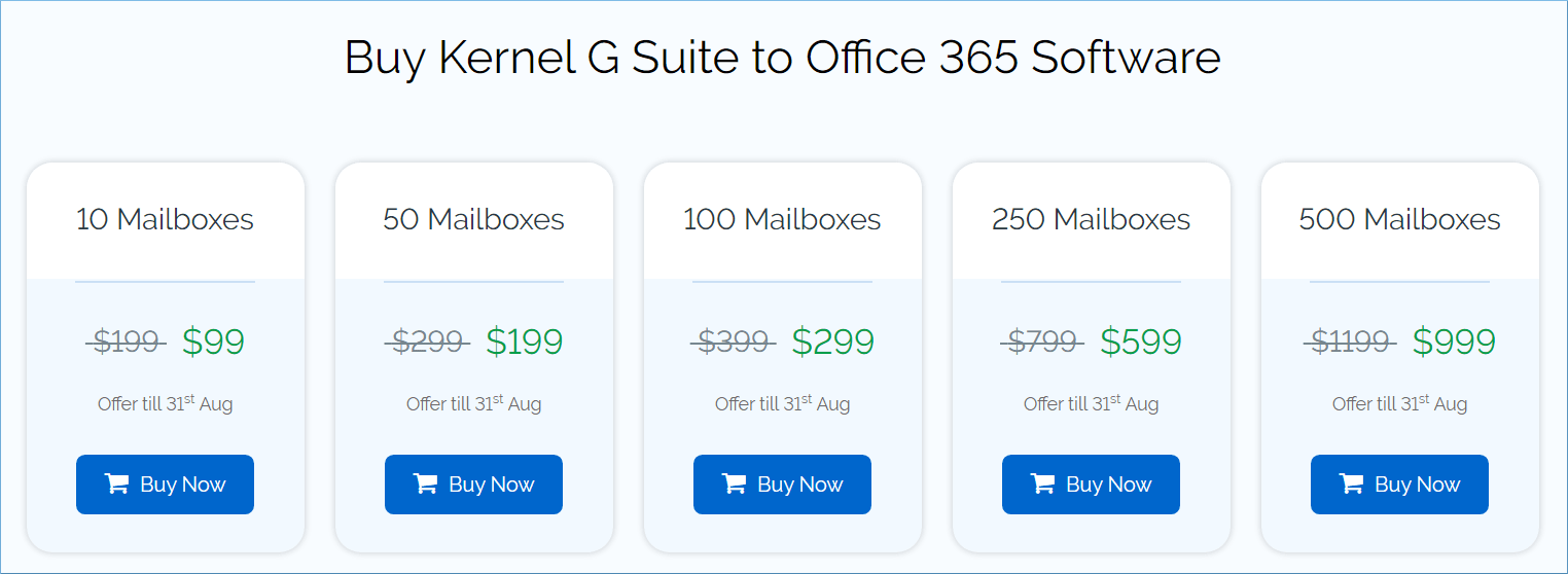 Price for Kernel G Suite to Office 365