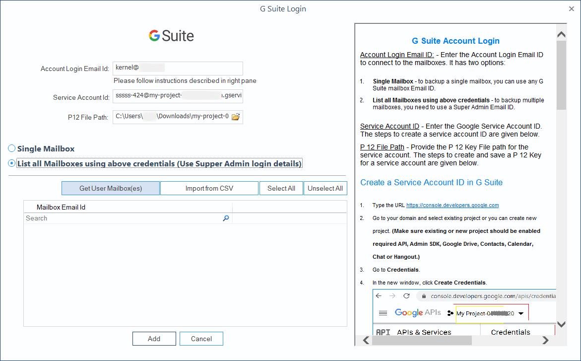 Click Get User Mailbox(es)