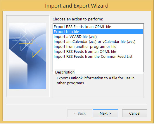 Click Export to a file option
